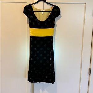 Black polkadot velvet anthropology dress